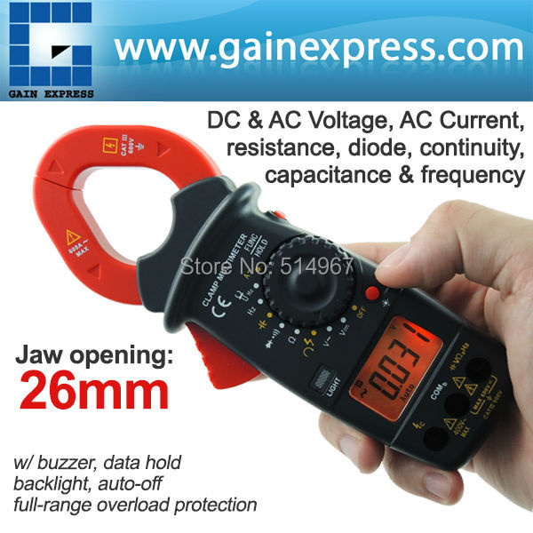 Digital Clamp Meter Autorange Phase Sequence Test DC AC Voltage AC Current Continuity Diode Frequency Resistance with Buzzer