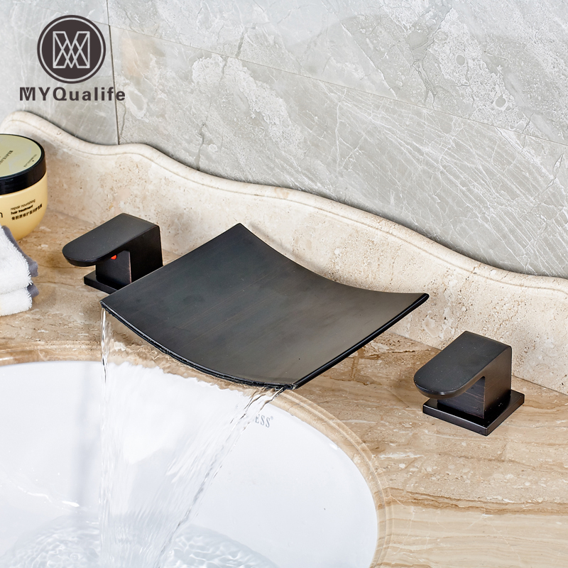 Deck Mounted Waterfall Spout Basin Faucet Bathroom Sink Taps Dual Handle with Hot and Cold Water Mixer xa 78 фигура пара котят 5 1281910