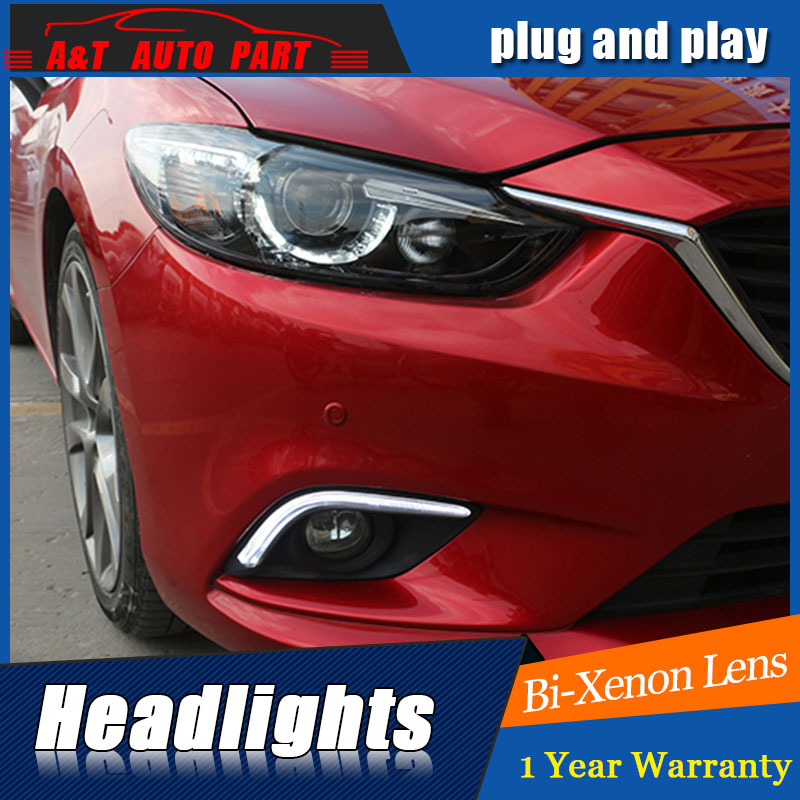 Car Styling New For Mazda 6 led headlights 2014-2015 Led Mazda6 head lamp Angel eye led H7 hid Bi-Xenon Lens low beam car styling for chevrolet trax led headlights for trax head lamp angel eye led front light bi xenon lens xenon hid kit
