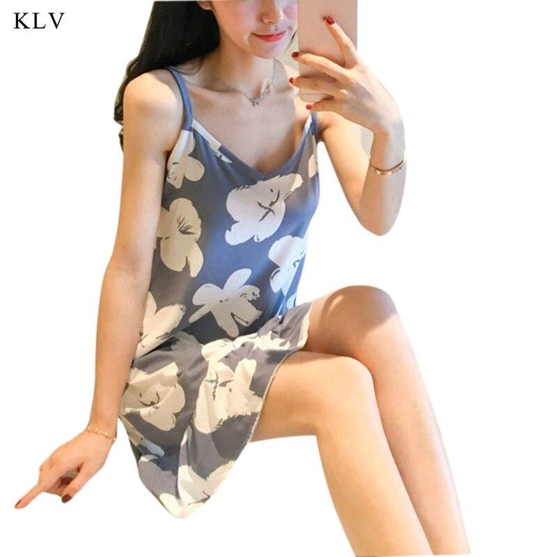 KLV Women Summer Temperament Sexy Temptation Dress Lovely Sweater Girl Slingshot Sleepwear