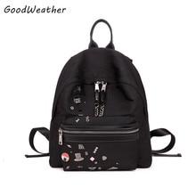 Высокое качество ткань Оксфорд женщин рюкзак водонепроницаемый большой емкости colleage сумки моды черный молния дамы туристические рюкзаки
