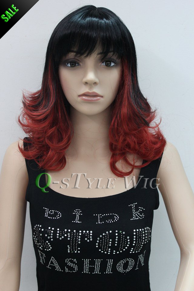 Pleasant Wholesale Wig Short Ombre Wavy Highlight Color Black To Red Two Short Hairstyles For Black Women Fulllsitofus