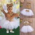 Los niños del cabrito ropa de verano princesa infant Toddler Baby Girl Lentejuelas fiesta de baile Tops + Faldas Del Tutú de la Venda 3 unids Trajes conjunto