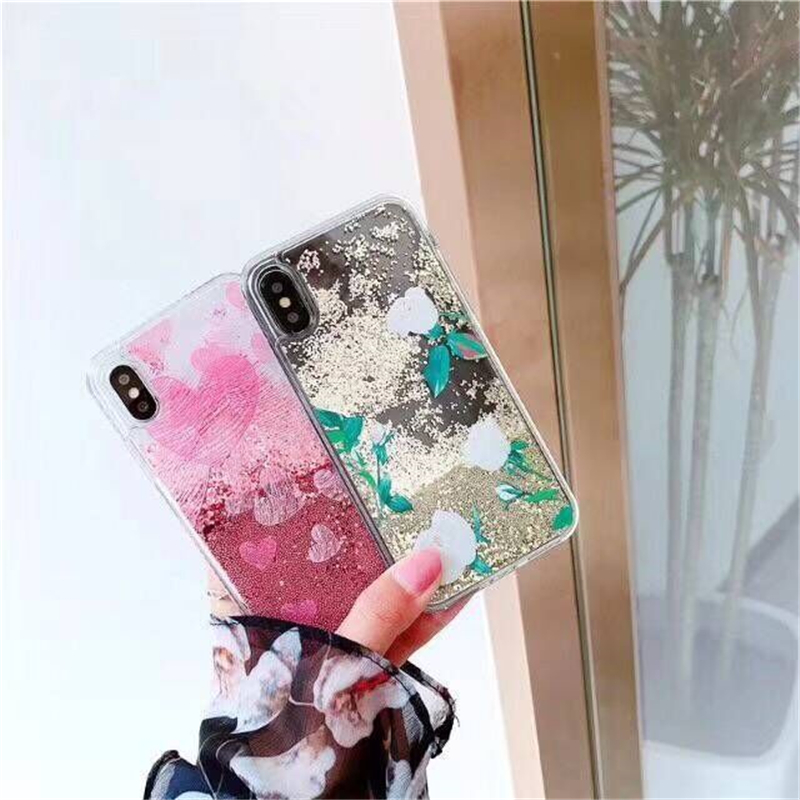 Glitter Liquid Sand Soft Transparent TPU Mobile Phone Cases For iPhone7 7Plus Flower Cellphone Back Covers Protective Shell Bags