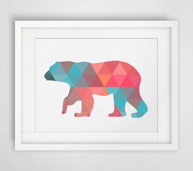 √Colorful Polar Bear Canvas Art Print Poster,Wall Pictures For Home ...