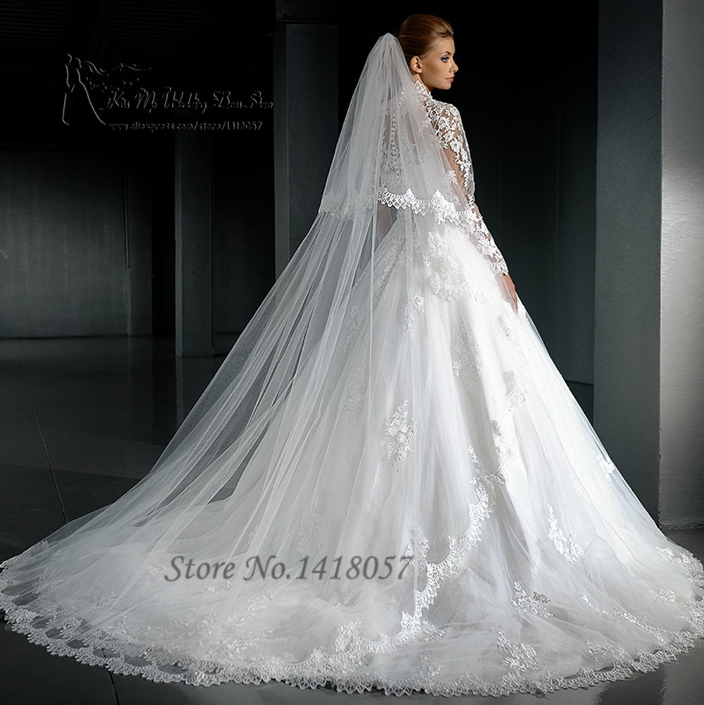Winter Long Sleeve Muslim Wedding Dress 2016 High Neck with Jacket Lace  Bridal Dresses Wedding Gowns Boda Applique Ball Gown. H3136 (2) H3136 (3)  ... bf338efbb9fe