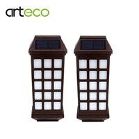 2 Pz/lotto Luce Impermeabile Giardino Esterno Solare Lanterna Lampada Solare Pathway Recinzione Luci Portico Applique Da Parete bianco Caldo