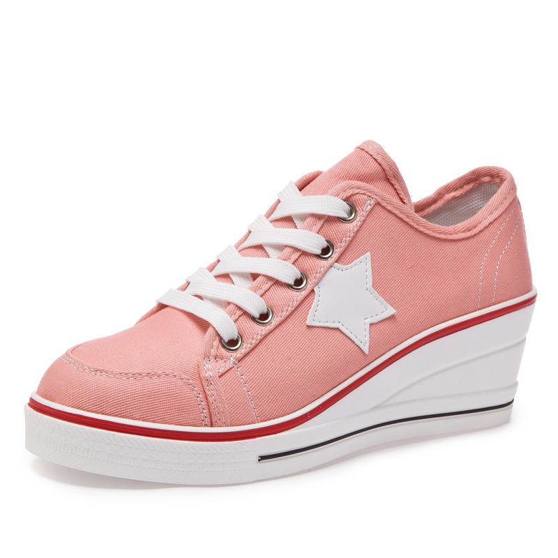 35b714b2ab4c LORFRCIN Canvas Shoes Woman Platform Wedge Trainers Fashion Star Height  Increasing Casual Shoes Women 6 cm Pumps Tenis Feminino-in Women s Pumps  from Shoes ...