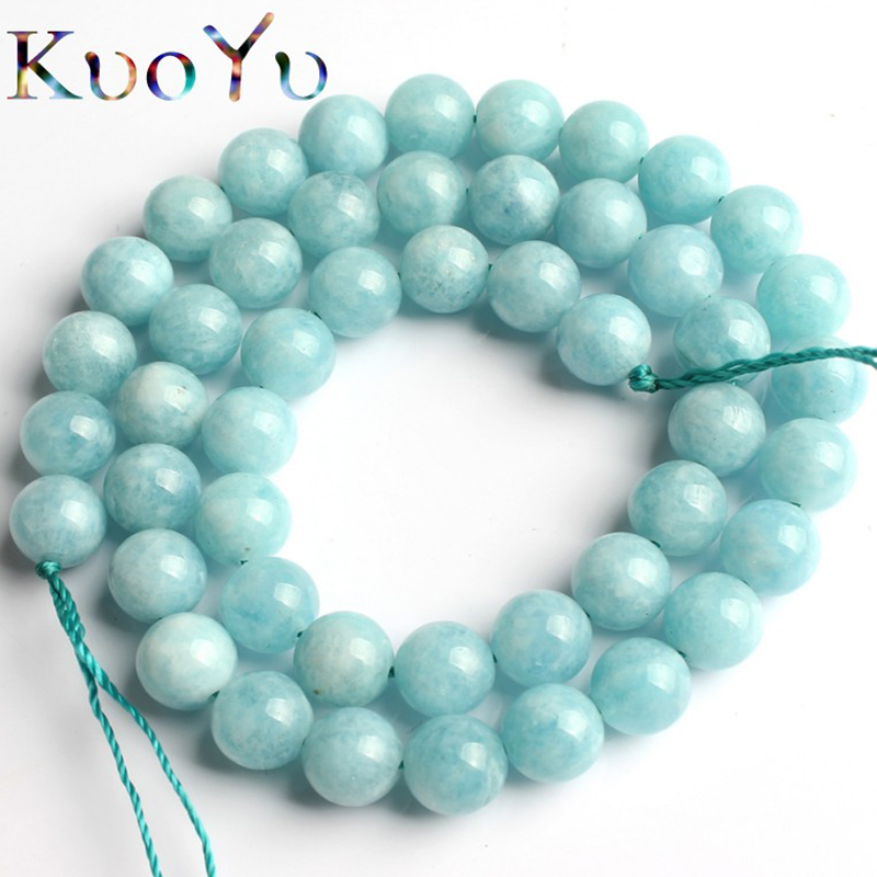 Natural Stone Aquamarines Beads Smooth Round Loose Spacer Beads 15'' Strand 6/8/10mm For Jewelry Making DIY Bracelet Necklace