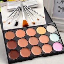 Alta Calidad 15 Colores Fundación Corrector Contorno Paleta de Polvo y 7 Unids Pinceles de Maquillaje para el Maquillaje