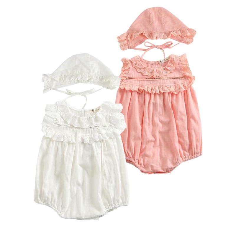 Roupas Bodysuit Bebê recém-nascido Menina de Verão Sem Mangas Meninas Rendas de algodão + Macacão Conjunto Roupas Gêmeos Roupas Roupa Do Bebê Com Chapéu