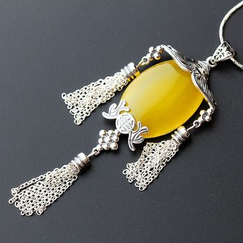Silver Jewelry Wholesale Retro Thai Silver Pendant S925 Sterling Silver Natural Chalcedony Necklace Pendant Silver Pendant Women