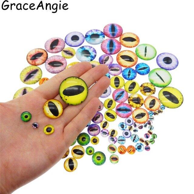 100 pcs Mix Olhos Do Dragão Rodada Cabochão De Vidro Foto para brincos Jóias Acessórios Padrão Olhos Handmade Rodada Brinquedo Olhos De Vidro