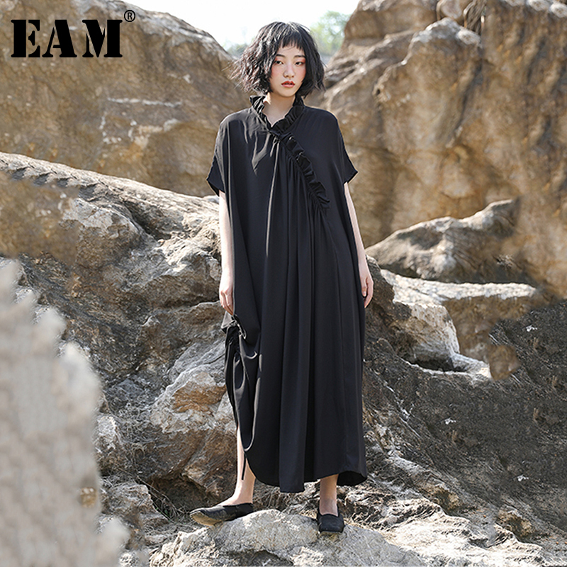 EAM 2019 New Spring Summer Stand Collar Short Sleeve Black Ruffles Split Joint Loose Long
