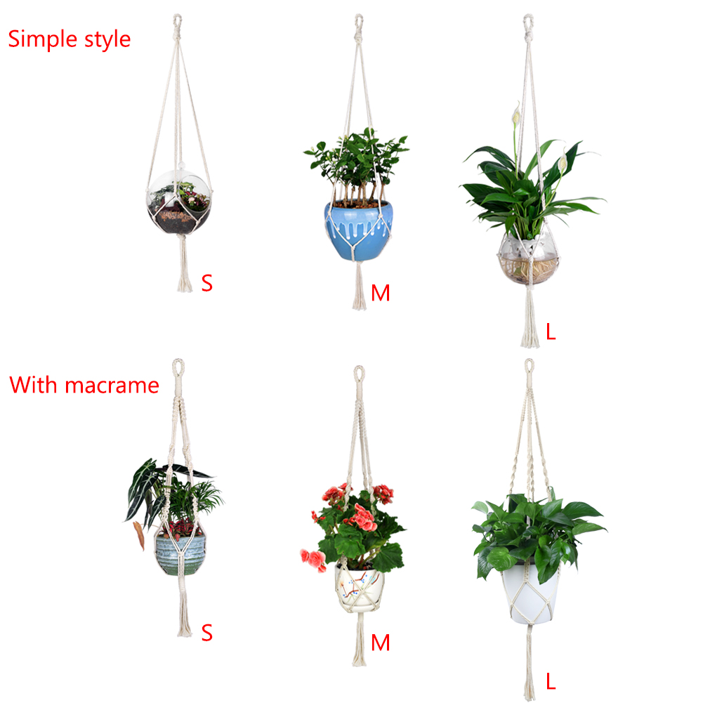 Image 2 - WITUSE 1PC Macrame Plants Hanger Hook 4 Legs Retro Flower Pot Hanging Rope Holder String Home Garden Balcony Decoration Wall Art-in Hanging Baskets from Home & Garden