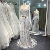 С длинным рукавом Роскошные бисером Вечерние платья с поясом блестящие элегантные настоящая фотография