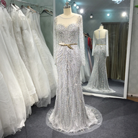 Long Sleeve Luxury Beaded Evening Dresses with Belt Shinny Elegant Real Photo