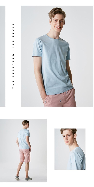 Men's Summer 100% Cotton Pure Color Round Neckline Short-sleeved T-shirt 64