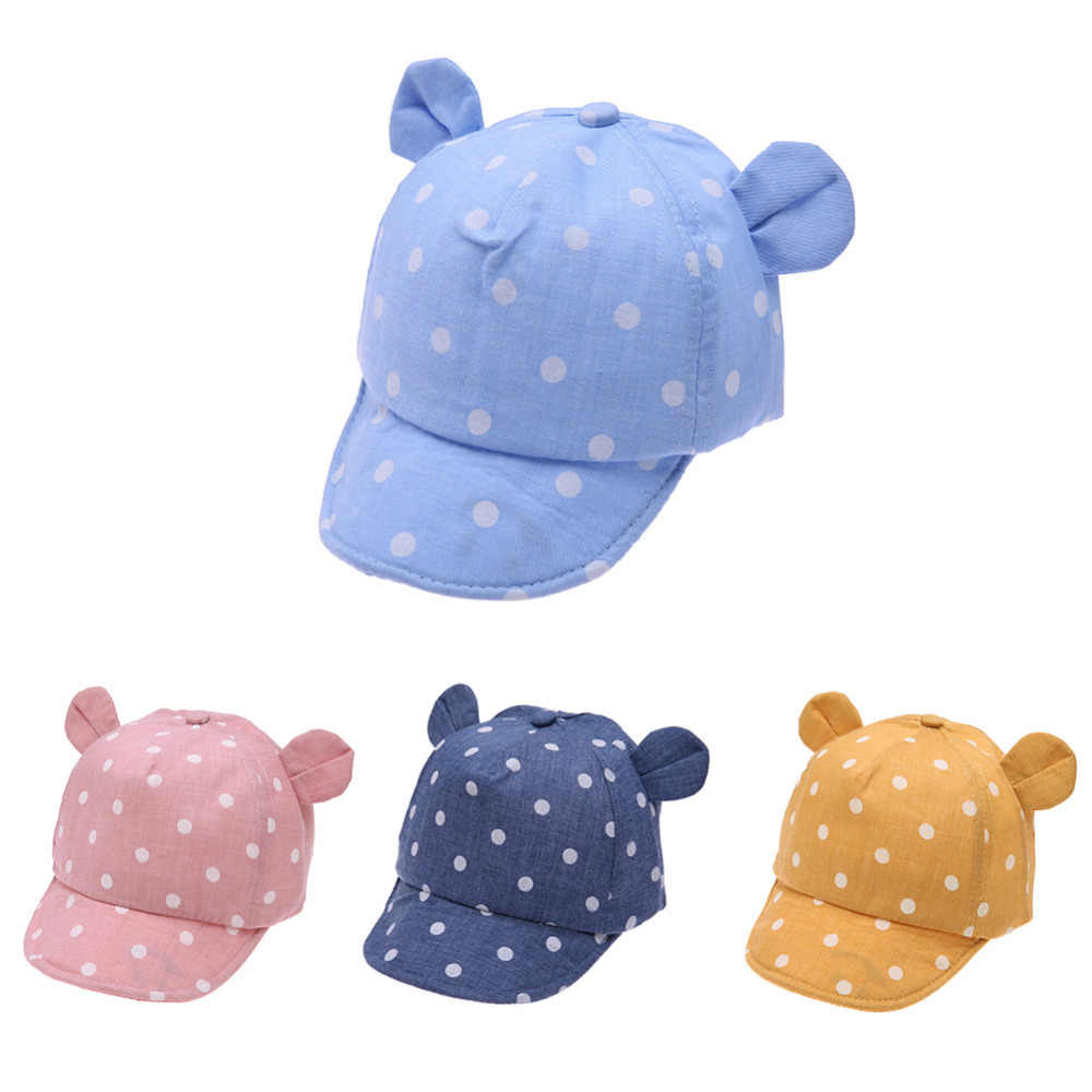 Dot Baby Caps New Girl Boys Cap Summer Hats For Boy Infant Sun Hat With Ear 9ac7bc28ce74