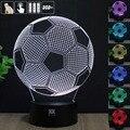 Bola de futebol 3D Night Light RGB Mutável Lâmpada de Humor e LEVOU Luz dc 5 v usb candeeiro de mesa decorativo obter um free controle remoto