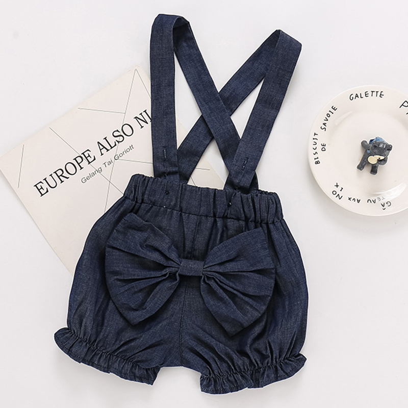 2020 Girls Jumpsuit Summer Children's Clothing 0-3Yrs Baby Overalls Girls Jeans Shorts Bow Girls Jean Summer Children Girl Short 4