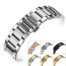 AOTU Universal Stainless Steel Watchband Butterfly Clasp 15/16/17/18/19/20/21/22/23/24mm Watch Strap Watchband for Seiko Citizen