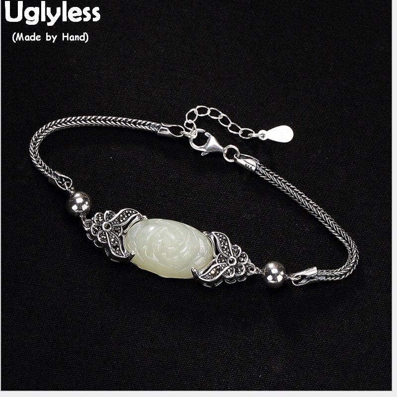 Uglyless réel solide 925 en argent Sterling à la main fleur Thai argent bracelets pour femme naturel Jade Floral bracelets bijoux fins