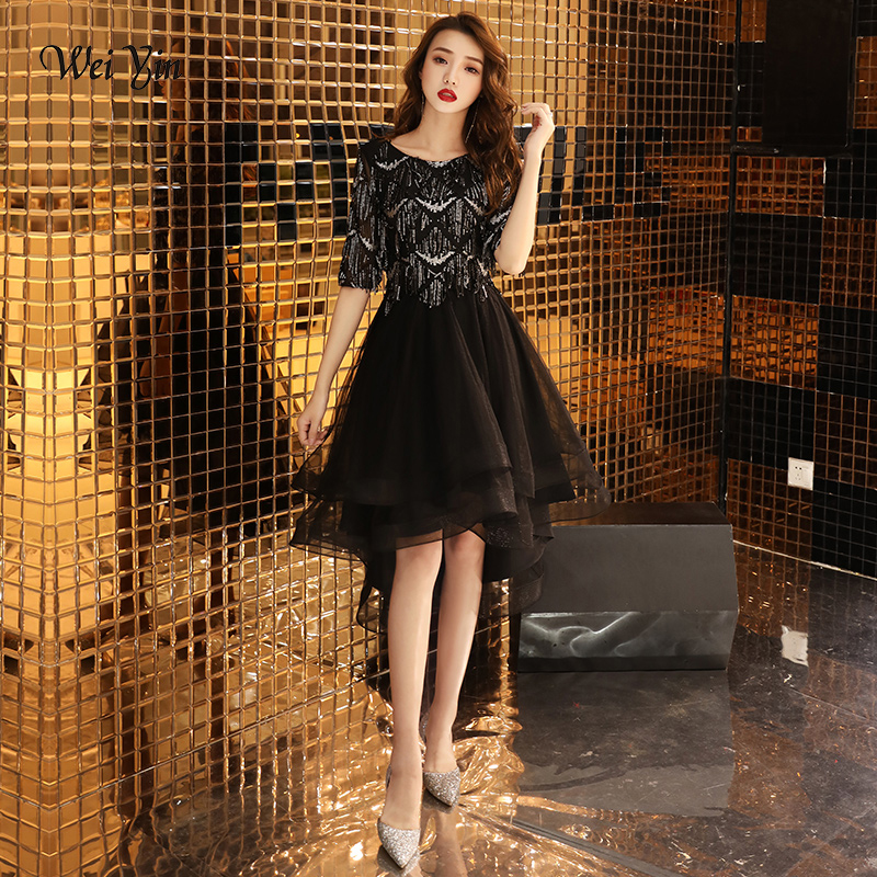 weiyin Black Half Sleeve High-low Vintage Zipper Tea Length Formal   Dresses   Sequined Party   Prom     Dresses   WY1211