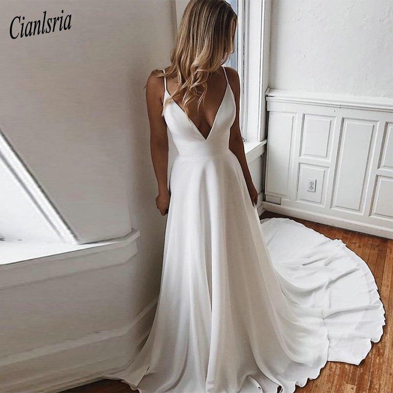 Simple White Ivory Wedding Dresses Sexy Deep V-neck Appliques Plus Size Backless Bridal Gowns Spaghetti Straps Vestidos De Noiva