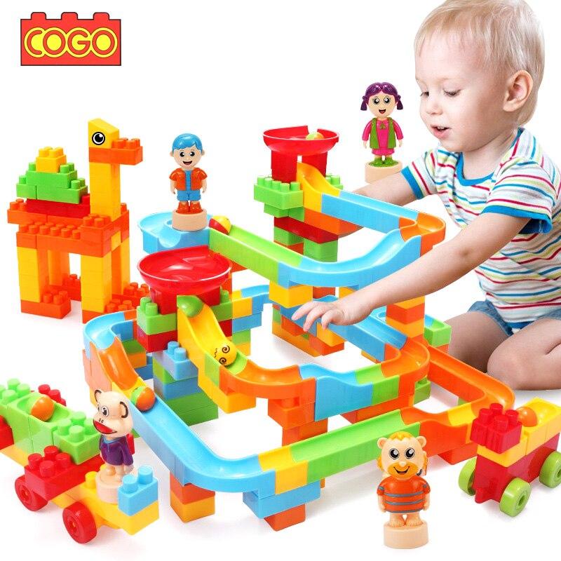 COGO 76 250 Pcs Marble Race Run Maze Balls Rolling Track Building Blocks DIY Constructor Bricks Blocks duplo Educational Toys