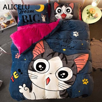 ALICELU Polyester Printed Coral Cashmere Warm Comforter Bedding Set  Kids Bed Linen Cover Pillowcase Home Anime Bed Sheets
