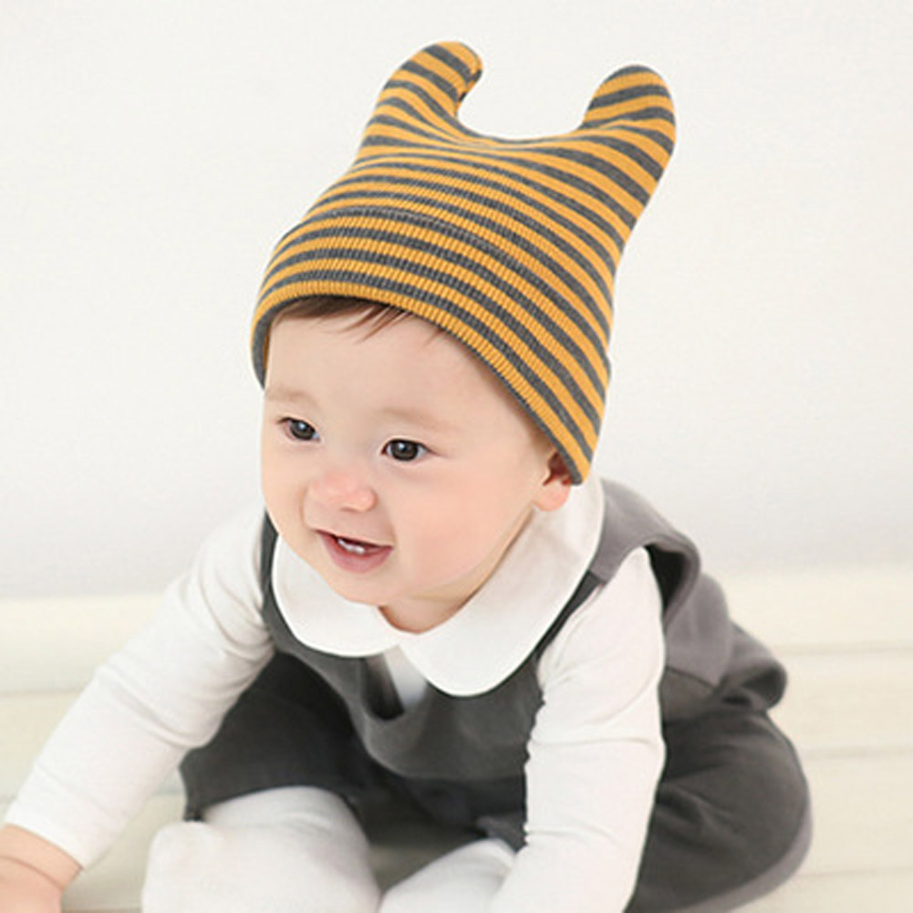 Baby Fashion Horn Hat Infant Boy Girl Cotton Cap Toddlers Spring Autumn Beanies Cute Stripe Design