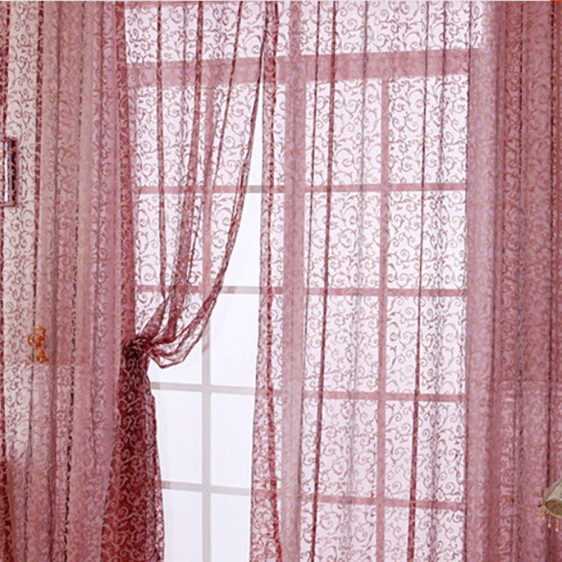 Modern Window Curtain With Flower Design: 1PC Modern Design Tulle Curtain Fabric For Window Room
