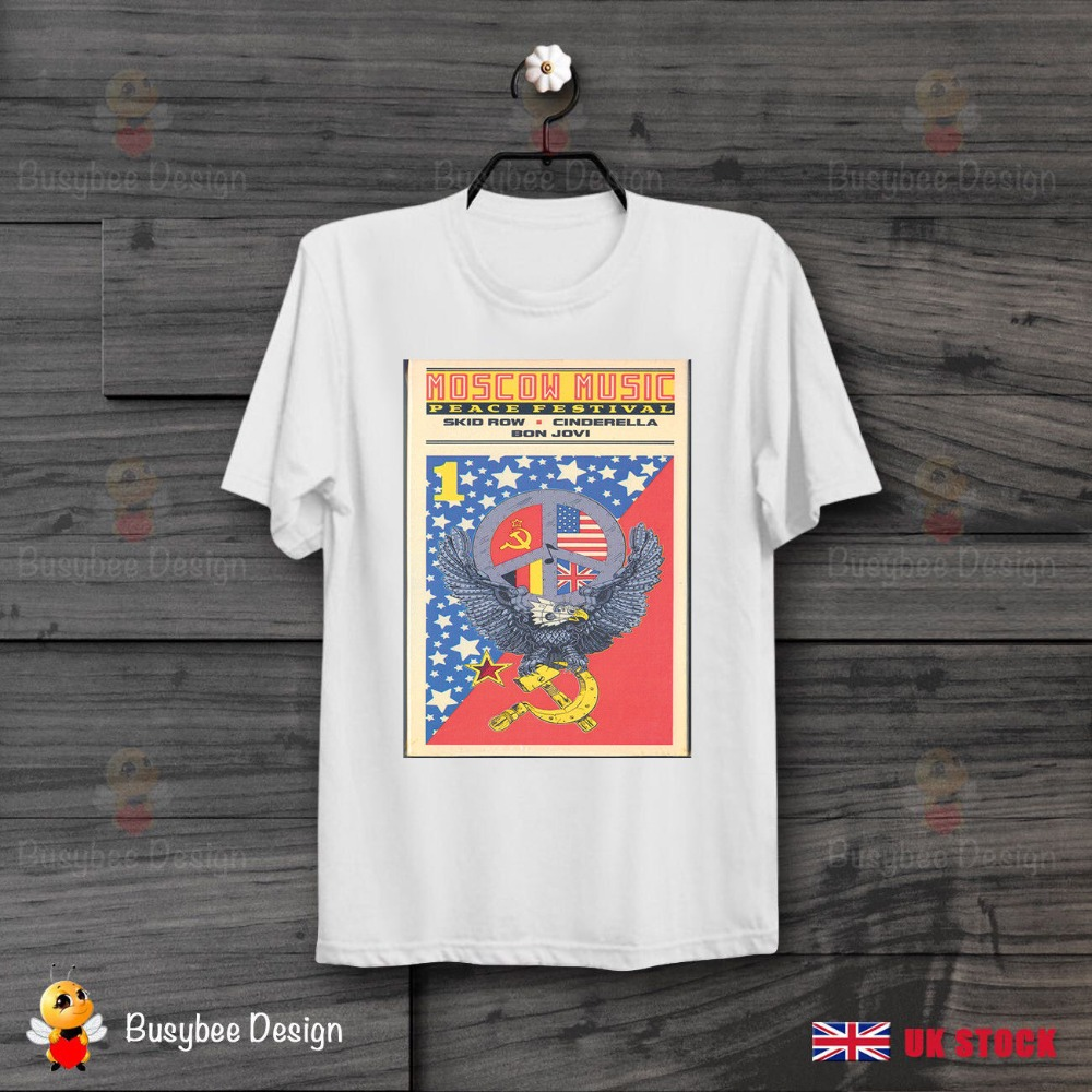 2019 Short Sleeve Cotton Man Clothing Moscow Music Festival Poster <font><b>T</b></font> <font><b>Shirt</b></font> 80s Rock Motley Crue Bon Jovi <font><b>Skid</b></font> <font><b>Row</b></font> <font><b>t</b></font> <font><b>shirt</b></font> image