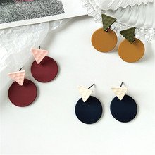 Simple geometric circular triangle pattern earrings delicate temperament Ms color tide female Fashion jewelry