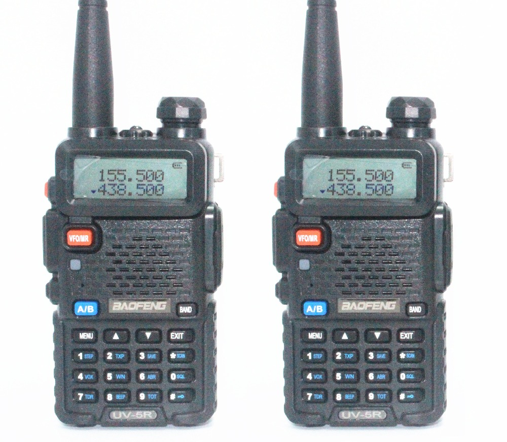 2pcs Baofeng UV 5R Two Way Radio Black Dual Band 136 174MHz 400 520 MHz Walkie
