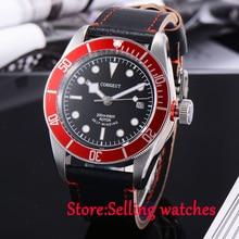 41 мм corgeut черный циферблат сапфировое стекло miyota 8215 автоматические часы для дайвинга