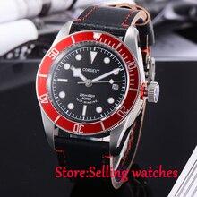 41mm corgeut miyota 8215 Automático reloj de buceo negro dial Cristal de Zafiro