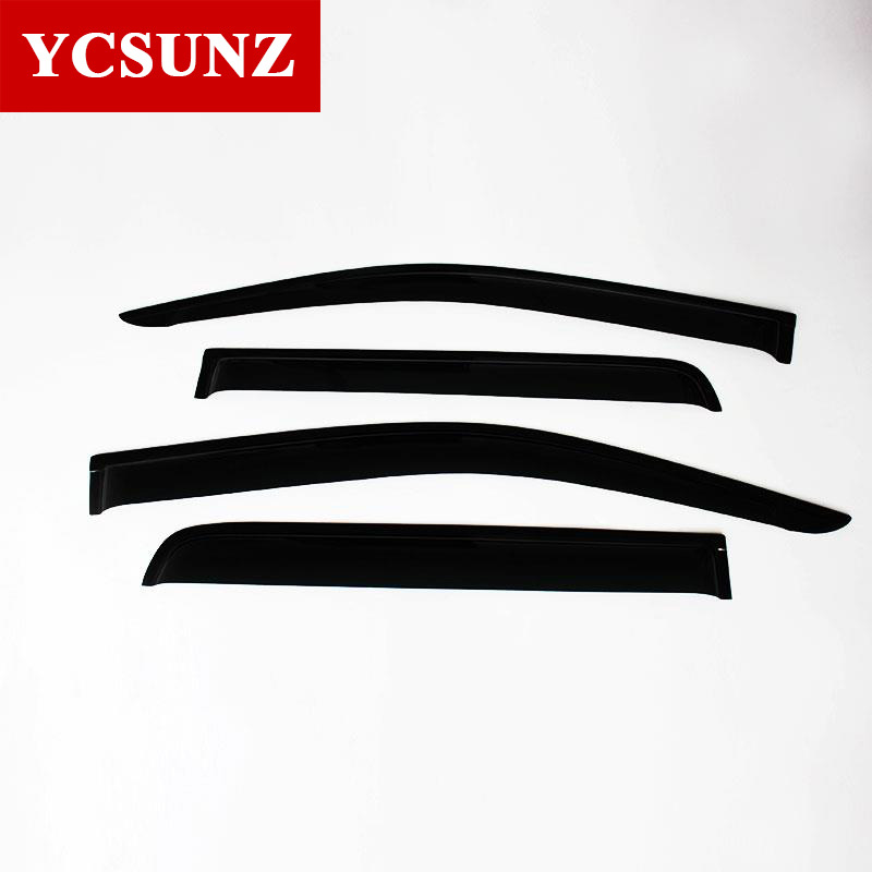 2017 Auto Door Shield Of Accessory For ISUZU D-MAX 2012 2013 2014 2015 2016 With Black Color Rain Window Visor Ycsunz free shiping for isuzu d max black front