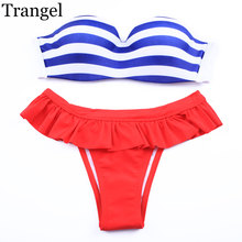 Trangel swimwear women Bikini Brazilian Striped Swimsuit Bikinis Push up For Women Fringe Ruffle Pants Shorts