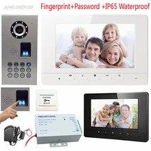Video Intercom Fingerabdruck Tastatur Home Video Intercom IP65 Wasserdichte Ccd-kamera Verdrahtete 7 inch Video-türsprech