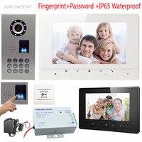 Video Citofono di Impronte Digitali Tastiera Home Video Citofono IP65 Impermeabile Ccd Wired Monitor a Colori Videocitofono 7 pollici