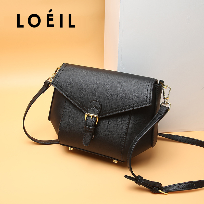 LOEIL Cross body handbag female bag leather bag 2018 autumn and winter new fashion shoulder bag first layer leather ladies bag famous brands first layer of leather woman bag autumn and winter fashion shoulder bag casual mobile messenger bag