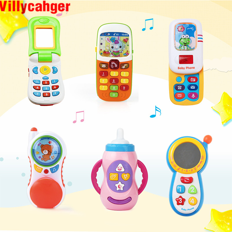 6 Types Baby Smart Phone Toys with Sound & Flash Light Electronic Toys Musical Cell Phone Kids Educational Toys Birthday Gifts(China)