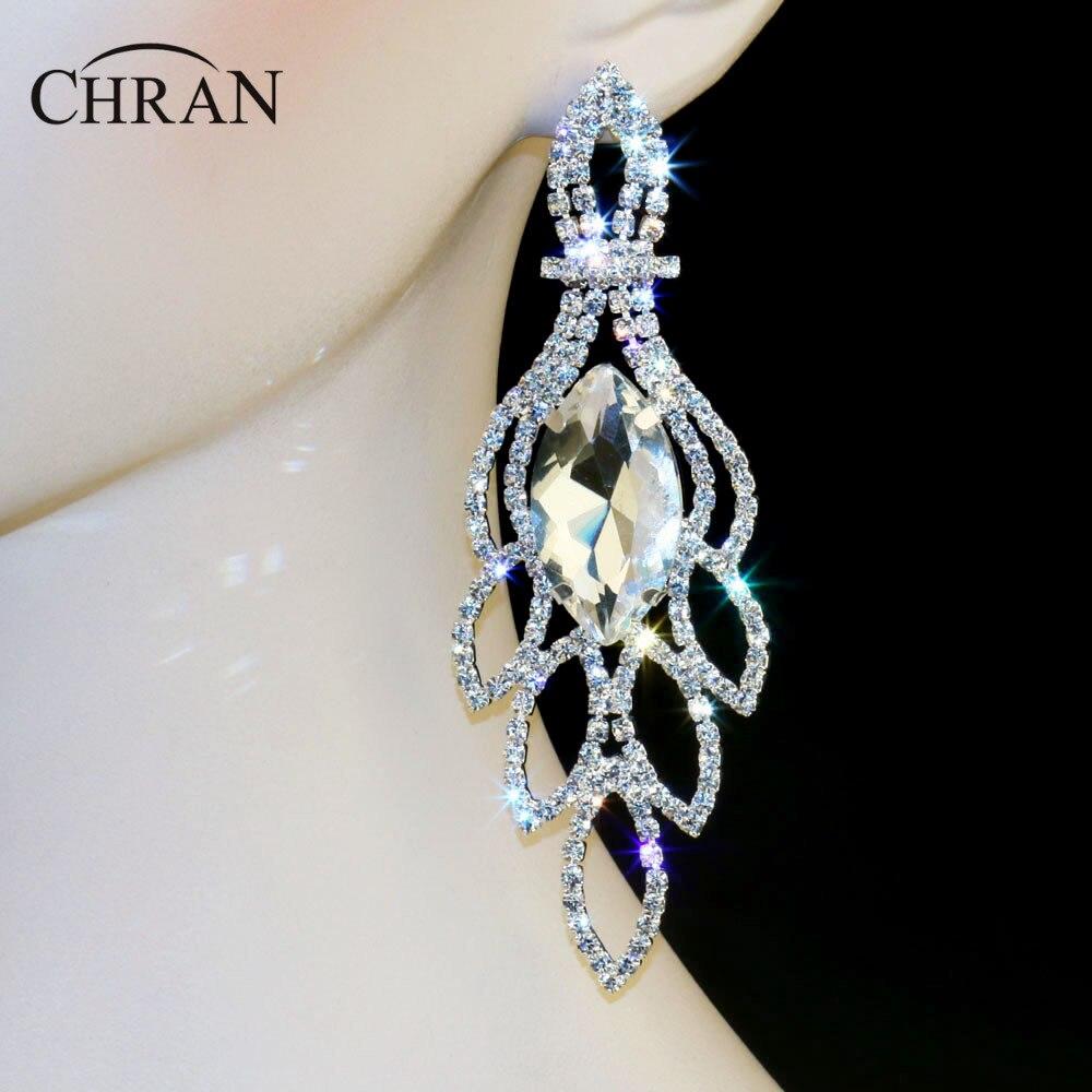 Chran New Bridal Silver Gold Color Rhinestone Crystal Earings Wedding Prom  Dangle 45