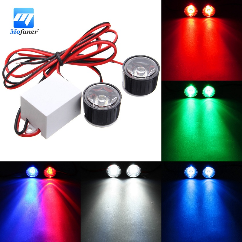 2PCS Motorcycle Led  Motorcycle Headlight  Eagle Eye Flashs Strobe Car Lights  Auxiliary Lamp 3W DC12-80V