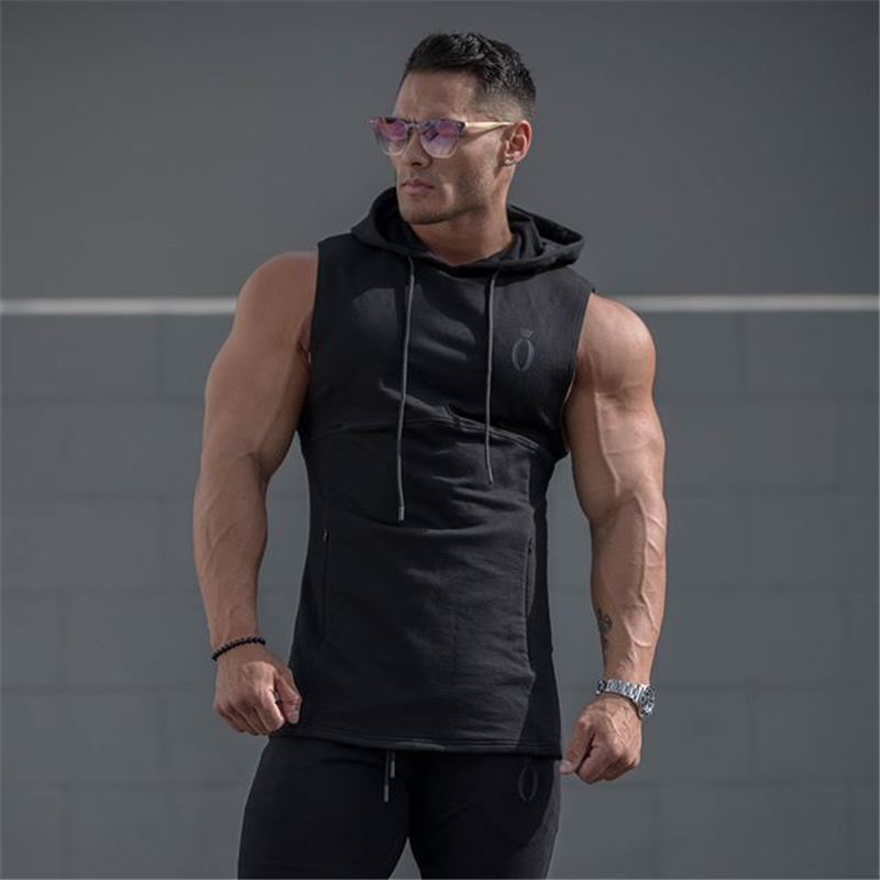2019 Autumn Men Sleeveless Hoodie Black & Purple Back Printed Cotton Hoodies Casual O-Neck Fashion Fitness Sweatshirt Size M-XXL