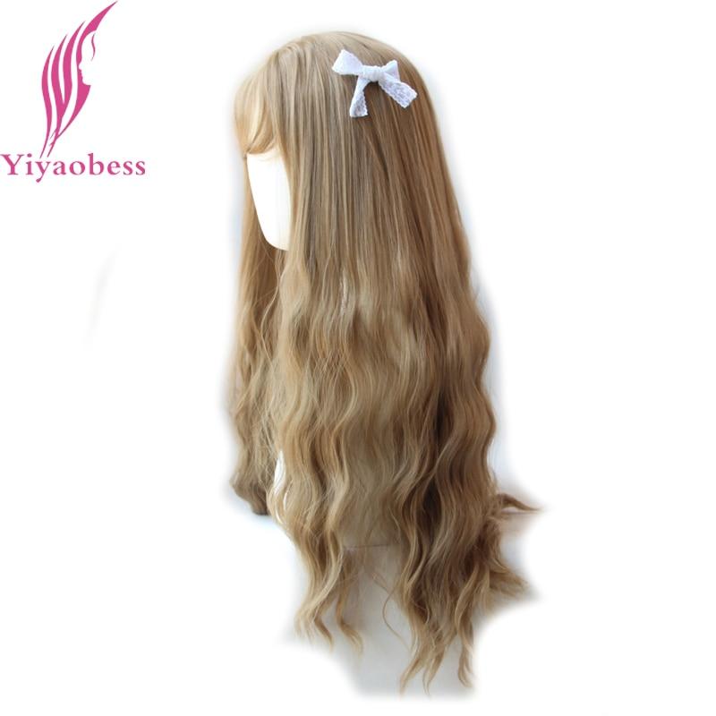 Yiyaobess 65cm långa wavy peruker med bangs värmebeständig - Syntetiskt hår - Foto 2