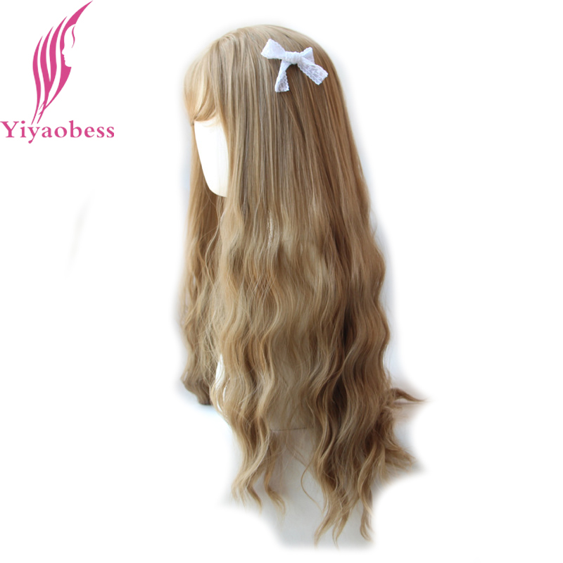 Yiyaobess 65cm Long Wavy Wigs With Bangs Heat Resistant Synthetic Hair Black Linen Brown Purple Light Golden Wig Free Shipping