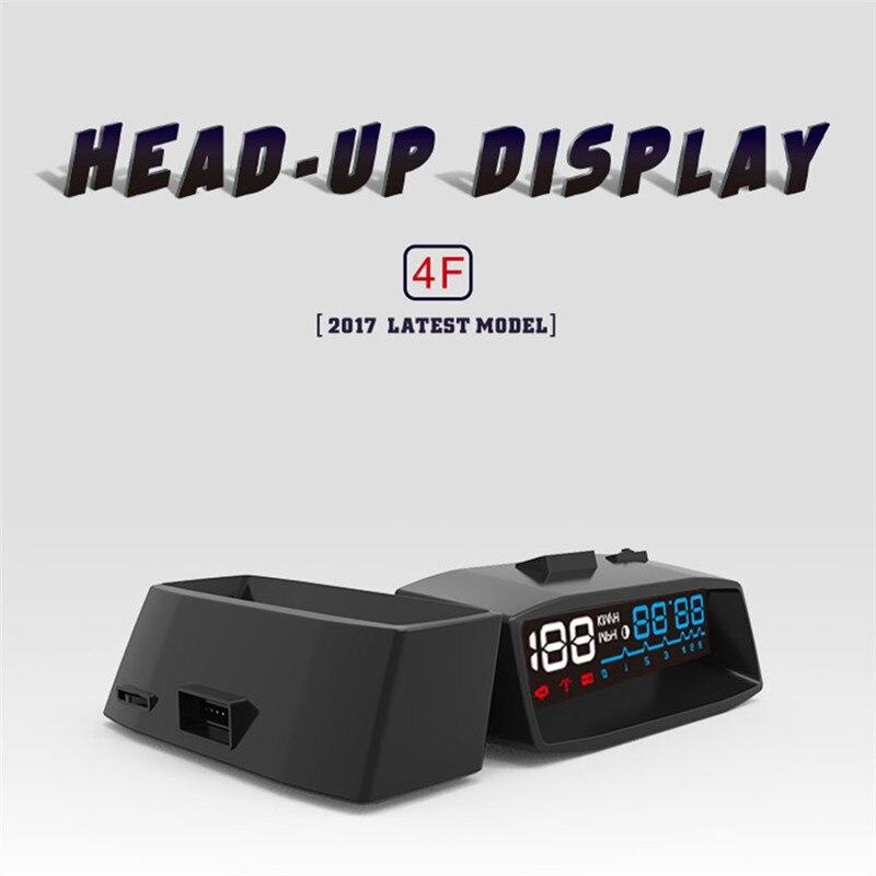 2017 Newest 4F Car OBD2 II HUD KM/h MPH Overspeed Warning Windshield Projector Alarm System Head Up Display